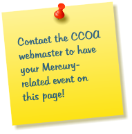 Contact the CCOA webmaster to have your Mercury-related event on this page!